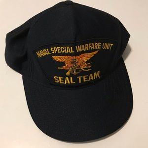 Vintage Naval Warfare Navy Seal Team Snap Back Hat